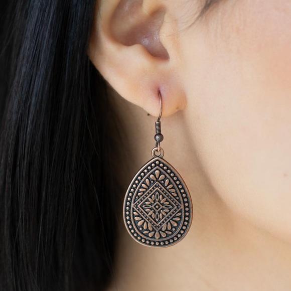 Mayan Mecca Copper Earrings